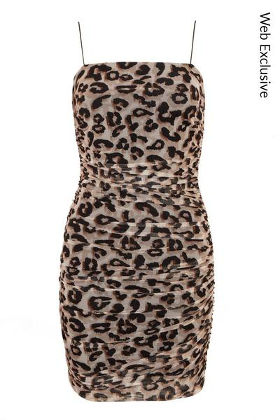 Stone Leopard Print Ruched Bodycon Dress